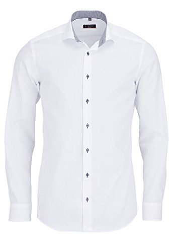 ETERNA Herren SLIM FIT FEIN OXFORD LANGARMHEMD WEISS 39-H Normal Slim Fit (67cm)