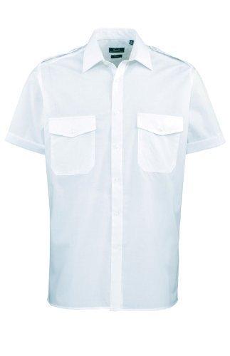 MAKZ Premier Arbeitskleidung Herren Businesswear Kurzärmelig Pilot Hemd – Hellblau, Herren, 44cm Kragenweite