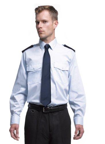 Easy Care Langarm Security / Piloten Hemd mit Brusttaschen – Farbe: White – Größe: 42