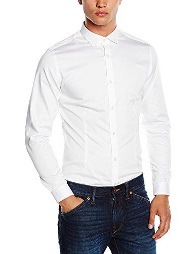 JACK & JONES PREMIUM Herren Slim Fit Business Hemd Jjprparma Shirt L/s Noos, Gr. Large, Weiß (White/SUPER SLIM)