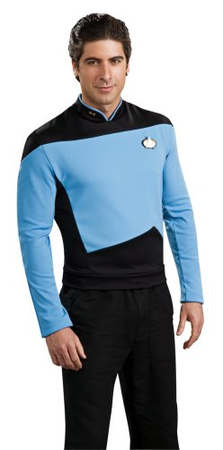 Deluxe Star Trek The next Generation Kostüm Uniform blau blaues Trekkiuniform Trekki mit Rangabzeichen Rang Abzeichen Föderation Deep Space Nine USS Enterprise Enterpriseuniform Commander Gr. L, M, XL, Größe:XL