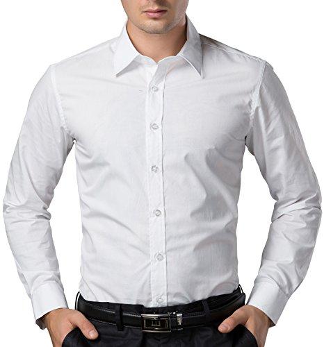 Weiss Fashion Einfarbig Hemd Lange aerme Super Modern Herren Hemd Größe L CL5252-3