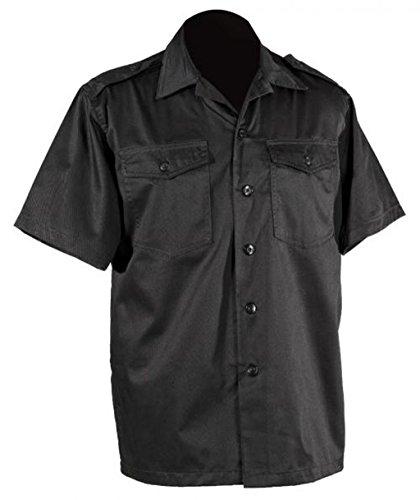 US Army hochwertiges langärmliges oder kurzärmliges Hemd Größe S-XXXXXL Übergröße Farbe Schwarz oder Khaki (XL, Kurzarm Schwarz)