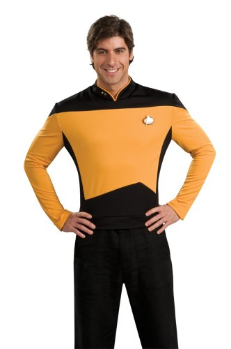 Deluxe Star Trek The next Generation Kostüm Uniform gold gelb goldene Trekkiuniform Trekki mit Rangabzeichen Rang Abzeichen Föderation Deep Space Nine USS Enterprise Enterpriseuniform Commander Gr. L, M, XL, Größe:XL