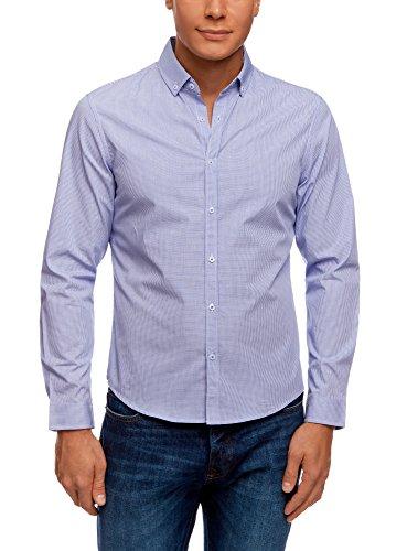 oodji Ultra Herren Tailliertes Hemd mit Geometrischem Druck, Blau, 39.5cm / DE 50 / M