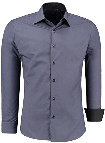 Herren-Hemd – Slim Fit – Bügelfrei / Bügelleicht – Für Business Freizeit Hochzeit – J'S FASHION – Anthrazit – K – M