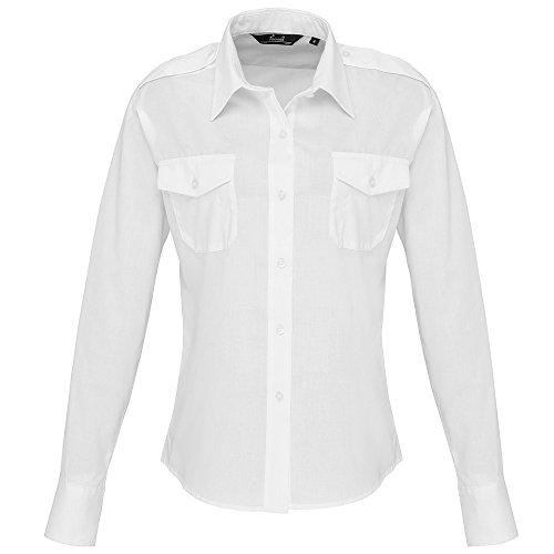 Premier Damen Langarm-Hemd im Piloten-Stil (38 DE) (Weiß)