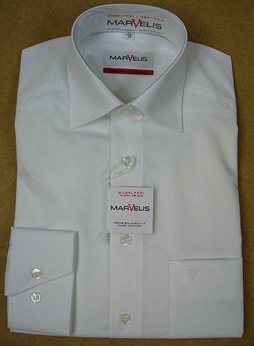 MARVELIS Comfort Fit Hemd extra langer Arm Popeline weiß AL 69