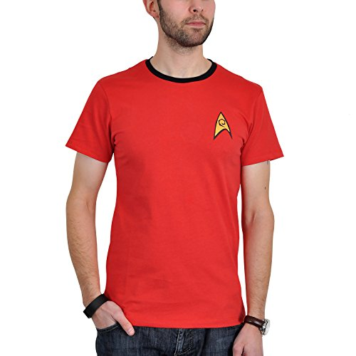 Star Trek Scotty Uniform T-Shirt Raumschiff Trekkie Kostüm Convention Baumwolle rot Kult mit Emblem – XXL