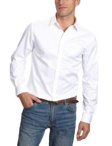 JACK & JONES PREMIUM Herren Hemd mit Manschetten Slim Fit 12020857 Andrew Shirt L/S Tight Fit, Gr. 52 (L), Weiß (OPTICAL WHITE)