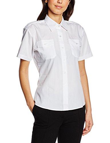 Premier Workwear Damen Hemd Ladies Short Sleeve Pilot Shirt, Weiß, 38 (herstellergröße: 10)