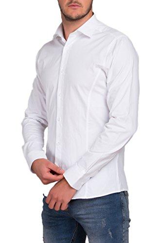 REDBRIDGE Langarm Herren Hemd Basic Business Anzug Freizeit Slim Fit R-2111-A, White XL