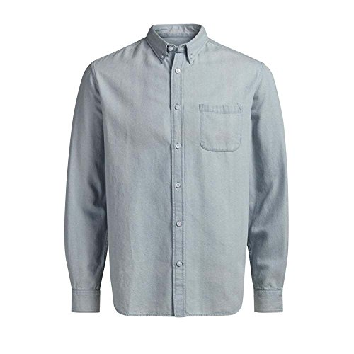 Jack & Jones Herren Langarm Hemden Office Shirt, light blue denim/slim fit, L