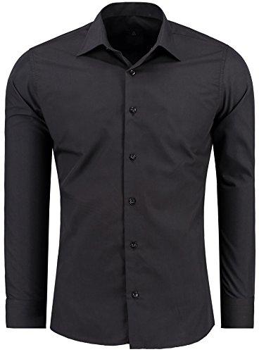 Herren-Hemd – Slim Fit – Bügelfrei / Bügelleicht – Für Business Freizeit Hochzeit – J'S FASHION – Schwarz – XL