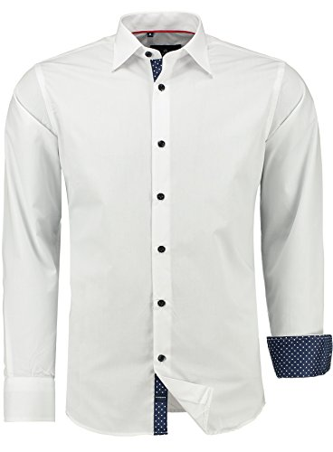 Barbons PREMIUM Herren-Hemd Slim-Fit tailliert / für Anzug Freizeit Business / 305 Weiß S