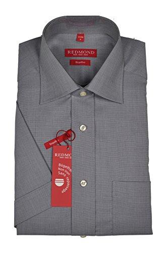 Bügelfreies Herren Halbarm Hemd in verschiedenen Fil à Fil Farbmustern, Stil: Regular Fit, Marke Redmond (200 900), Größe:37/38(S);Farbe:Grau(75)