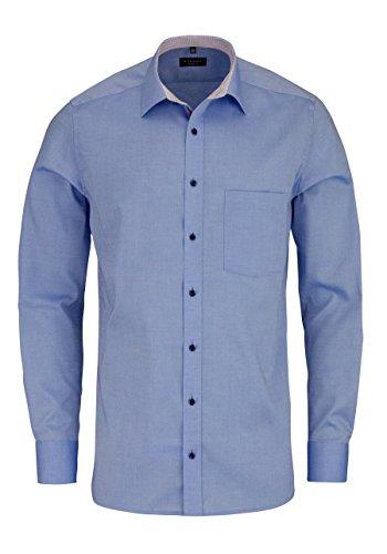ETERNA Modern Fit Hemd extra kurzer Arm mit Besatz mittelblau AL 59