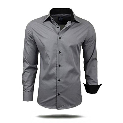 Herren Hemd Hemden Business Hochzeit Freizeit Slim Fit S M L XL XXL 44, Größe:M, Farbe:Grau