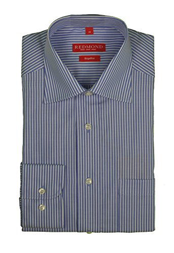 Redmond – Bügelfreies Herren Langarm Hemd gestreift, Stil: Regular Fit (510100), Größe:43/44(XL);Farbe:Blau(13)